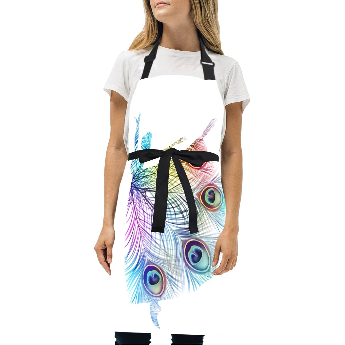 Naanle Colorful Peacock Feather Ballerina Silhouette Dancer Dance Ballet On White Kitchen Chef Cooking Salon Aprons for Women Men Vintage Pinafore Apron Dress