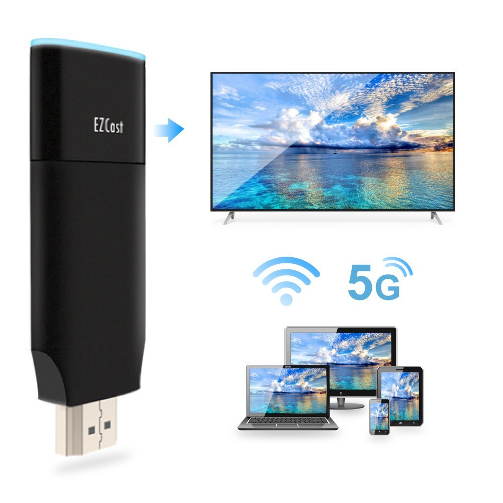 EZCast 2 Wireless Display Receiver Dual band 2.4GHz/5GHz Dual Core WiFi Display Dongle Turn Your HDTV into a Smart TV by EZCast