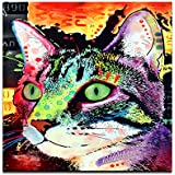 "Canvas Wall Art,Abstract Cat,Colorful Painting Prints,Lovely Pet Canvas,20""x20"" Animals Wall Art, Modern Canvas Print, Framed and Stretched Home Decor,Gallery Wrapped,Water-proof"