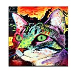 Canvas Wall Art,Abstract Cat Painting Prints,Lovely Pet Canvas Animals Wall Art, Modern Canvas Print, Framed and Stretched Home Decor,Gallery Wrapped,Water-proof (Dog) (Cat) (Cat)