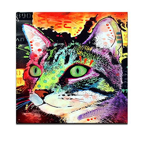 Canvas Wall Art,Abstract Cat Painting Prints,Lovely Pet Canvas Animals Wall Art, Modern Canvas Print, Framed and Stretched Home Decor,Gallery Wrapped,Water-proof (Cat) (Print Canvas Deco Art)
