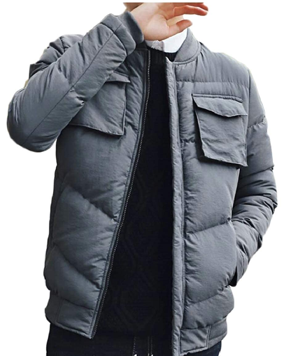 616e8a19f Gery omniscient Men Winter Casual Cotton Padded Padded Padded Down Coat Slim  Thicken Outwear Jacket c0f99a
