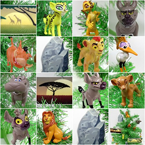 Lion Guard 15 Piece Mini Christmas Tree Ornament Set Featuring Kion and Friends - Unique Shatterproof Plastic Ornaments Around 1.5
