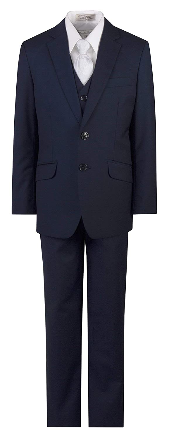 Tuxgear Navy Blue Slim Fit Suit Clergy Jacquard Neck Tie Boys and Youth Sizes
