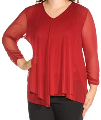 223d467039d1a Alfani Womens Red Sheer Long Sleeve V Neck Top Size  XL  Amazon.co ...