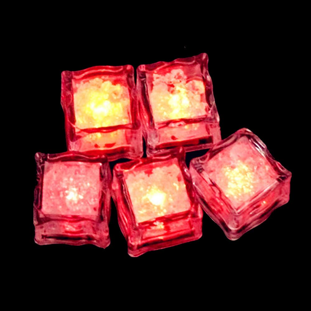 Gbell 1Pcs Glow LED Ice Cubes Fluorescent Lights Props for Halloween Party Supplies Favors,Wedding Bar,One-time White,Red,Yellow,Blue,Green,Pink (Blue)