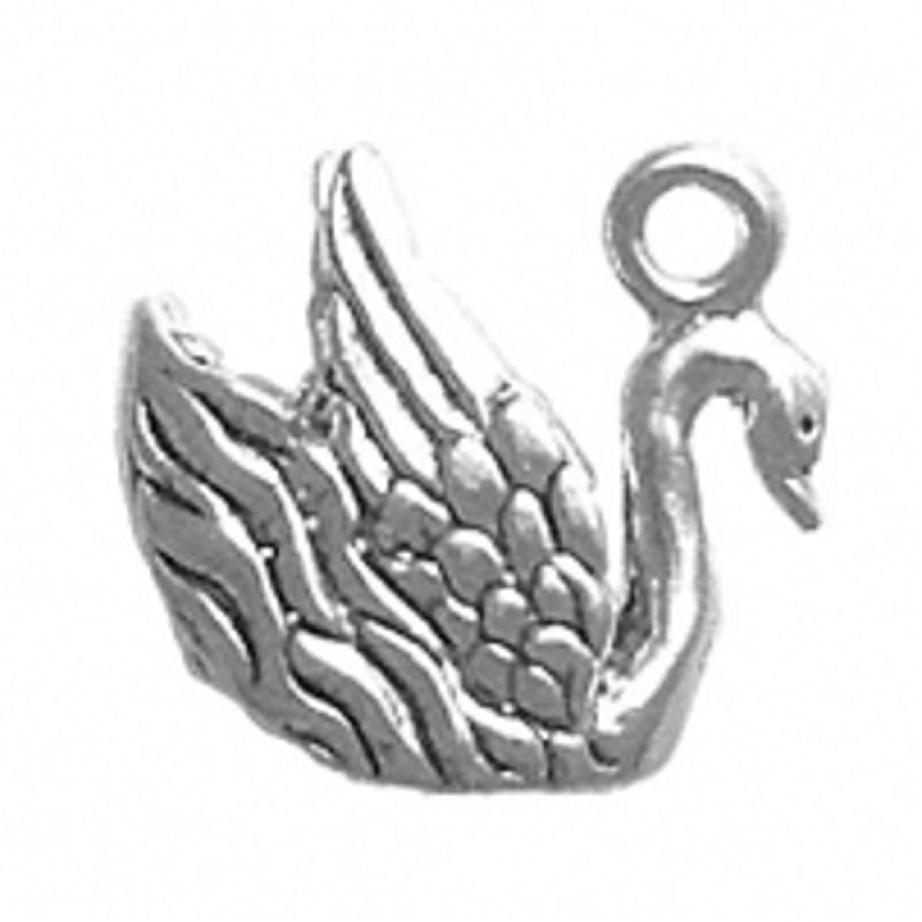 Sterling Silver Girls .8mm Box Chain 3D Graceful Swimming Swan Pendant Necklace Up Turned Wings