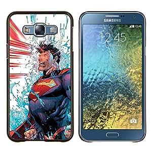 LECELL--Funda protectora / Cubierta / Piel For Samsung Galaxy E7 E700 -- Azul Rojo Power Man Cartoon --