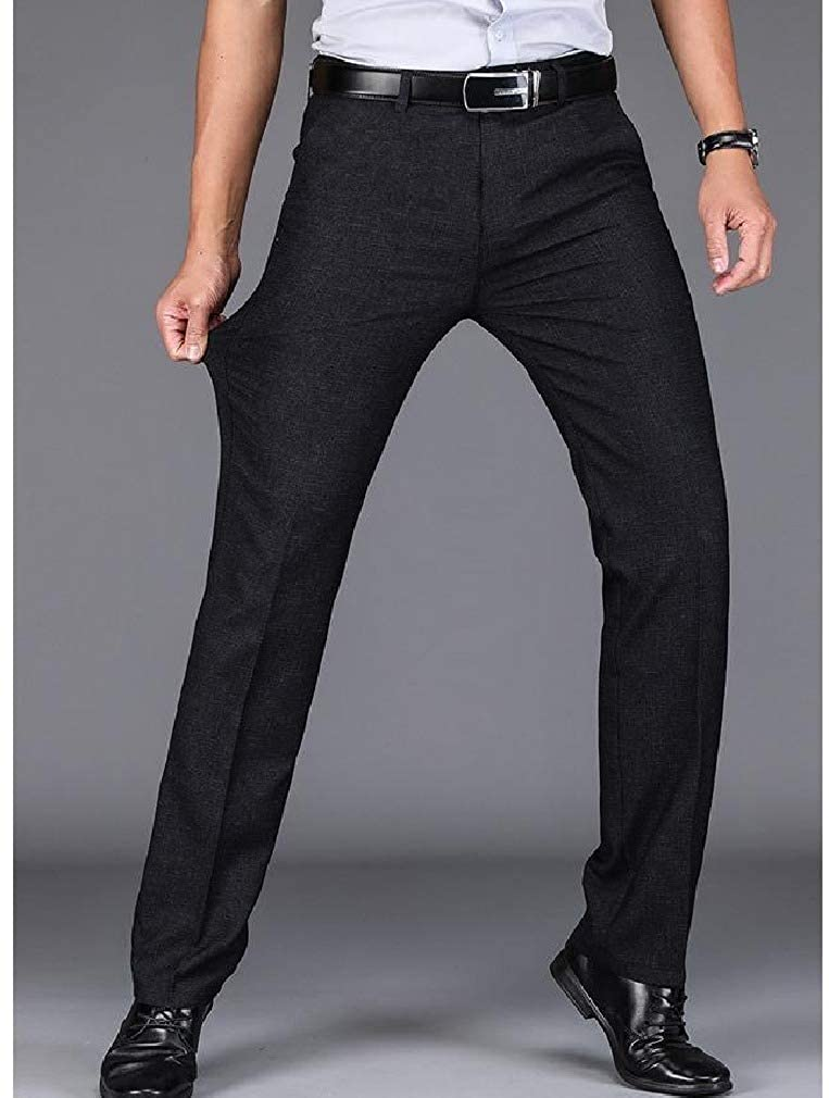 Unastar Mens Fit No Iron Straight-Fit Relaxed Fit Stretch Work Pants