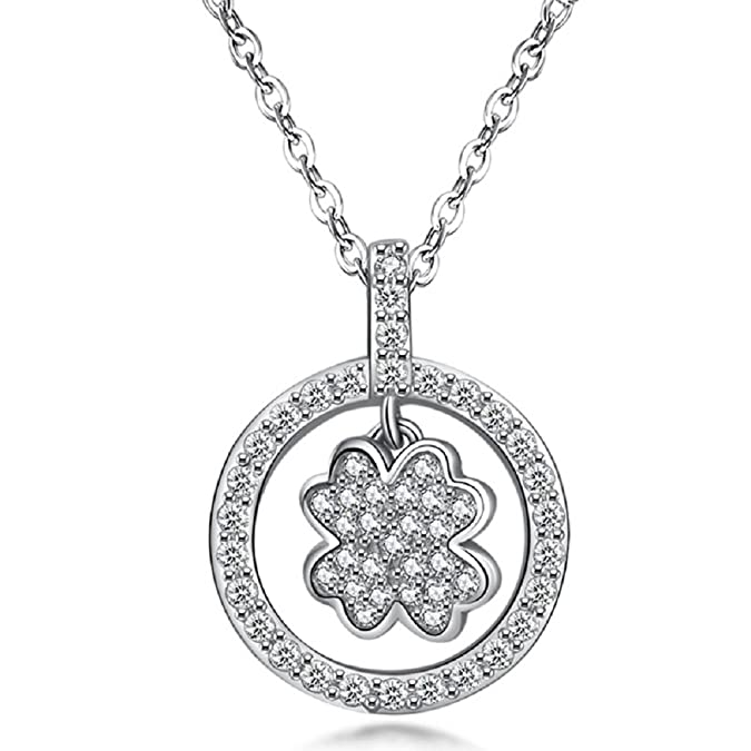 NYKKOLA 925 Sterling Silver plated Fashion Chain Four Leaf Clover Necklace Xmas gift for Woman Jewelry lady mDiGdGYU