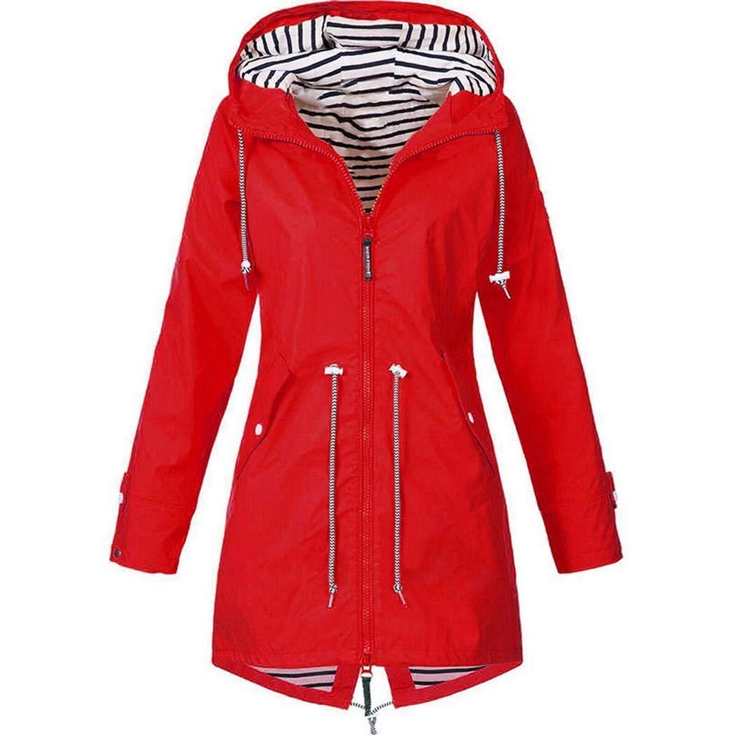 Kaimu Women Casual Hooded Neck Long Sleeve Solid Zipper Closure Long Windbreaker Windbreakers