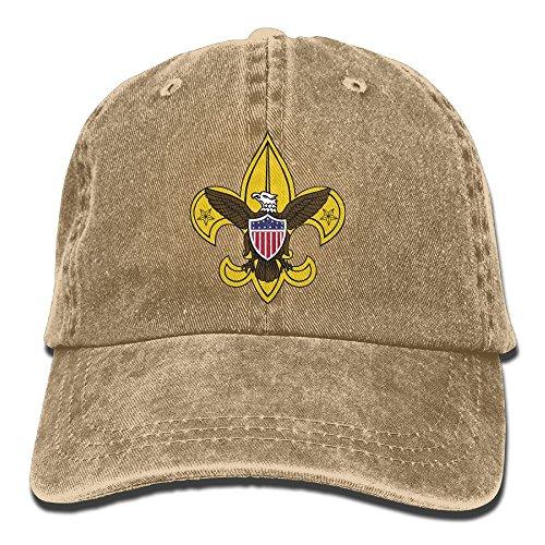 (SFT Unisex Boy Scout Fleur De Lis Dyed Washed Denim Cotton Baseball Cap Hat Natural)