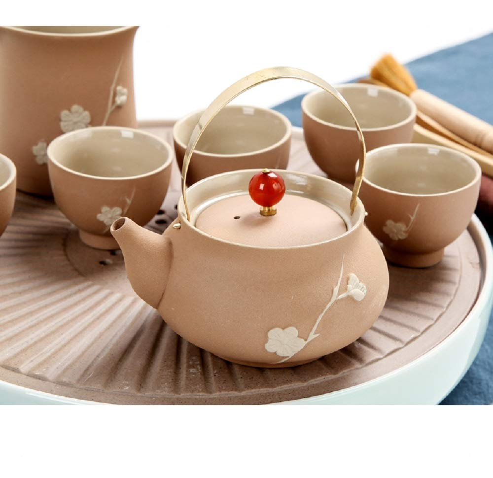 Chuangrong Porcelain Tea Sets Plum Pattern Portable Ceramic Teapot Firewood Coarse Pottery Chinese Gift Tea Set of 13 Gift Box for Business Friend Adult Men