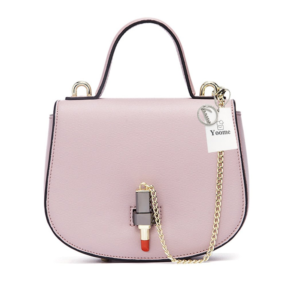 Yoome Trendy Saddle Bag Chain Bag Ladies Leather Crossbody Shoulder Bag with Creative Lipstick Shape Hasp - Pink