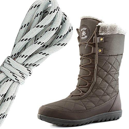 Dailyshoes Confort Des Femmes Bout Rond Mi-mollet Cheville Plat Haute Eskimo Fourrure Dhiver Bottes De Neige, Gris Noir Marron