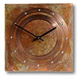 Patinated Copper Rustic Square Decorative Wall Clock 12-inch Silent Non Ticking for Home/Office / Kitchen/Bedroom / Living Room