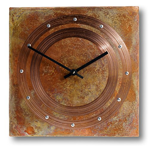 Silent Square - Patinated Copper Rustic Square Decorative Wall Clock 12-inch - Silent Non Ticking Gift for Home/Office/Kitchen/Bedroom/Living Room