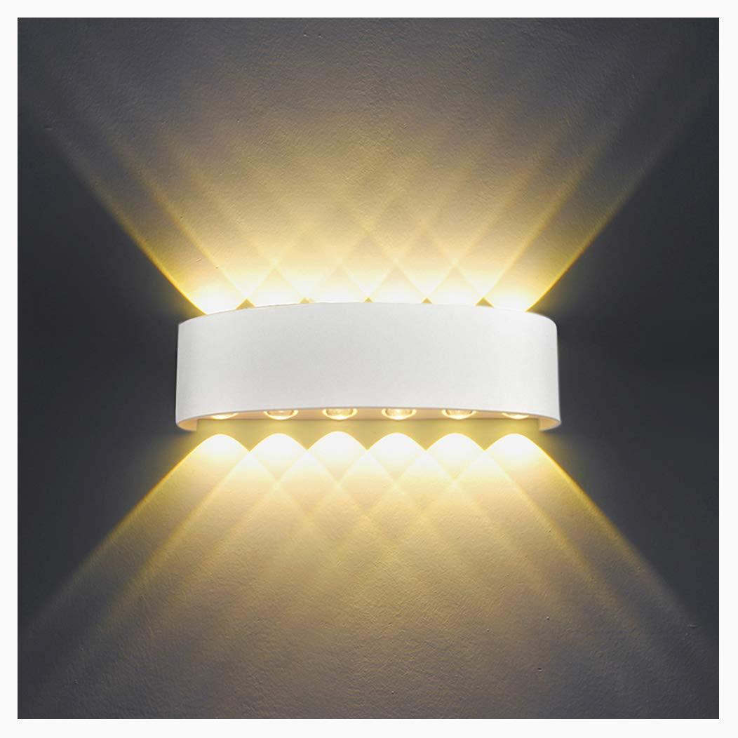 Up Down Spot Lampe pour Salon Chambre Hall Escalier Pathway IP65 /Étanche appliques murales exterieures en Aluminium Applique Murale Interieur LED 12W Blanc Lampe Murale Moderne Blanc Chaud