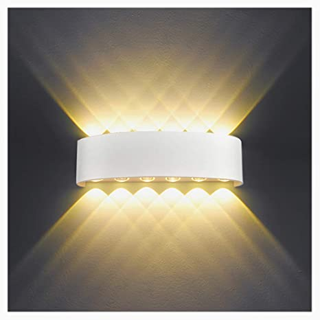 Lampada da Parete Interno Esterno 12W LED Applique da Parete Moderno ...