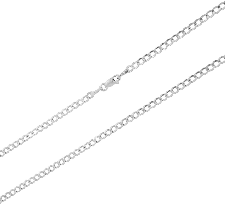 16-24 Unisex 14k White Gold Solid 2.5mm Cuban Chain Pendant Necklace
