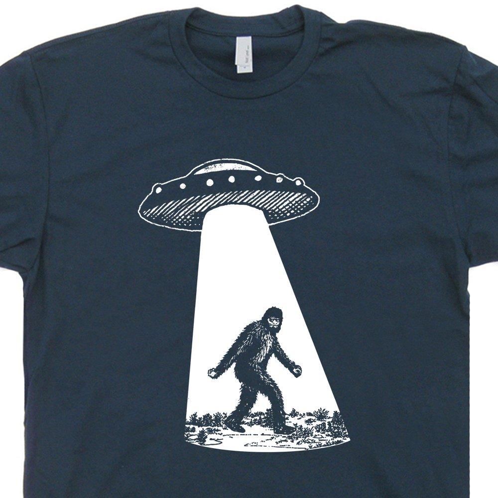 XXL - Bigfoot UFO Abduction T Shirt Funny Sasquatch Aliens Tee Shirts Cryptozoology Area 51