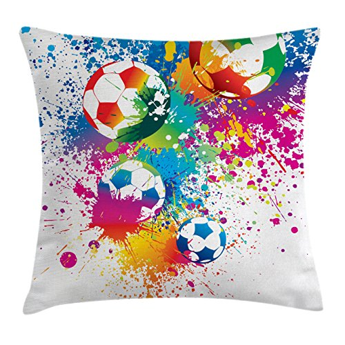 Ambesonne Sports Decor Throw Pillow Cushion Cover, Colored Splashes All Over The Soccer Balls Score World Cup Championship Art Print, Decorative Square Accent Pillow Case, 16 X 16 inches, Multi by Ambesonne