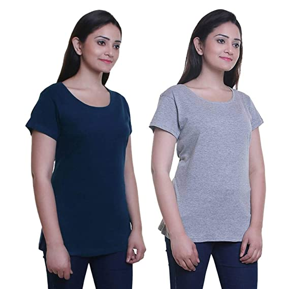 f21530887fd6 TRAZO Solid Round Neck Half Sleeve Long Cotton T Grey & Navy Shirts for  Women Combo