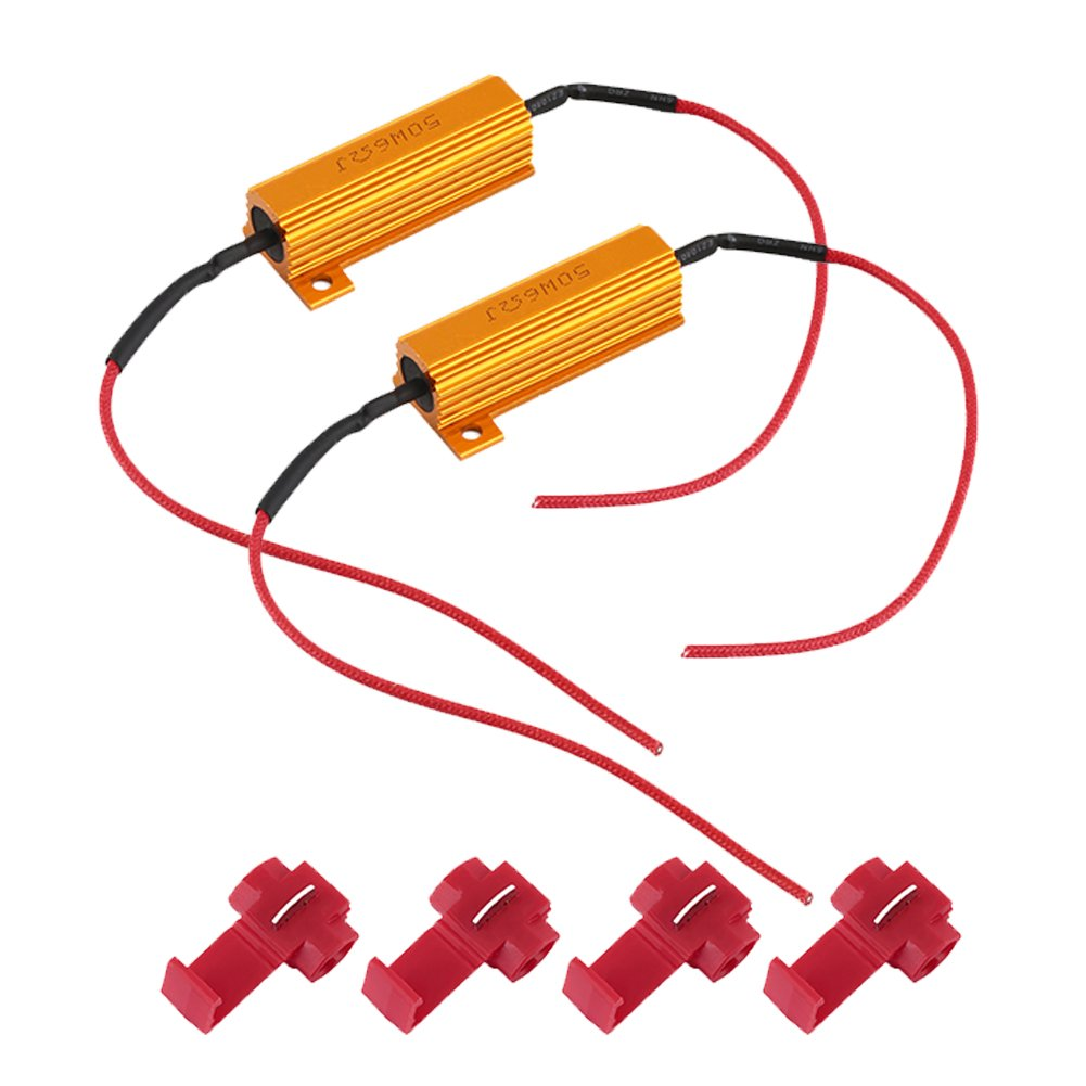 Taben 2/pcs 50/W 6-ohm r/ésistances de charge pour LED clignotants lumi/ères ou LED Feux de plaque dimmatriculation ou DRL Fix Hyper Flash /& avertissement Cancellor avec 4/pcs Pinces Fil rapide