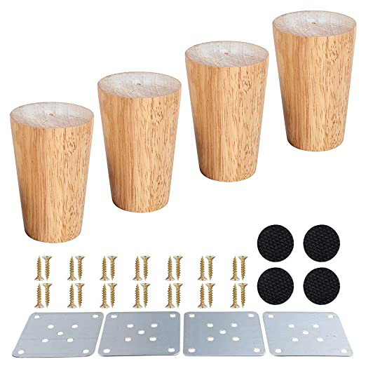 Patas de madera para muebles, patas de sofá, color madera maciza, mesa de té, mueble de TV, patas de sofá, paquete de 4
