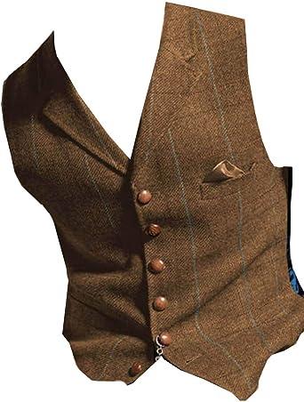 Aesido Vintage Men Vest Slim Fit Tweed Wool Herringbone Business Waistcoat for Wedding Groomsmen