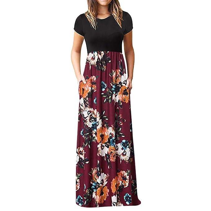 928993a481d7 UPXIANG Donna Vestito Lungo Elegante Abito Cerimonia Donna Dress Mini Vestito  Trasparente con Stampa O-Collo Manica Lunga Maxi Vino Vestito dal Carro  Armato ...