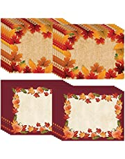 """Creative Converting Autumn Thanksgiving Placemats   24 Count in 2 Designs 12"""" x 15""""   Pumpkins Fall Leaves for Luncheons, Family Dinner, Friendsgiving"""