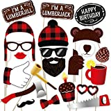PartyGraphix DIY Lumberjack Themed Party Photo Booth Props Kit - Suitable for Kids and Adult Birthday or any other Parties. 34 Piece Kit Includes Hats, Tools and More