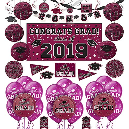Party City Berry Congrats Grad 2019 Graduation Deluxe Decorating Supplies with Banner, Streamers, and Swirls