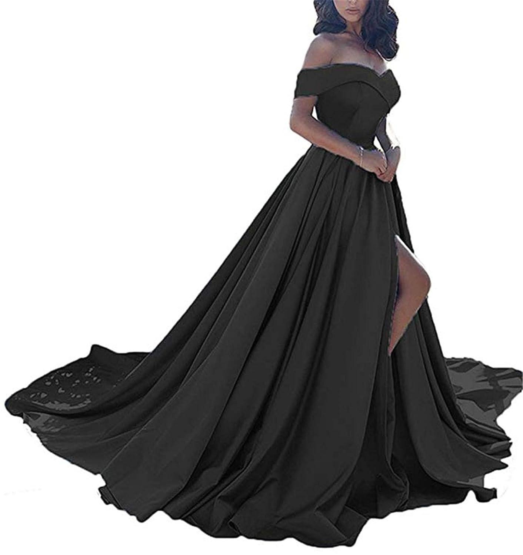 Black QiJunGe Women's Off The Shoulder A Line Prom Dress Split Satin Formal Evening Gowns Long