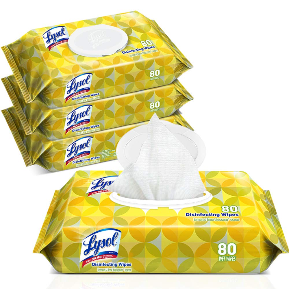 Lysol Handi-Pack Disinfecting Wipes, 320ct (4X80ct), Lemon & Lime Blossom