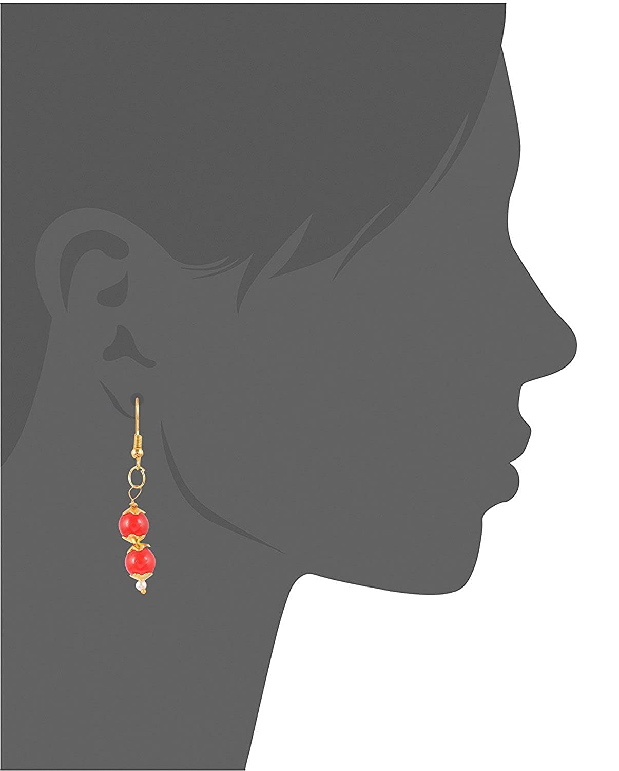 Subharpit Red Color Pearl Golden Color Metal Non Precious Indian Ethnic Tratitional Dangle
