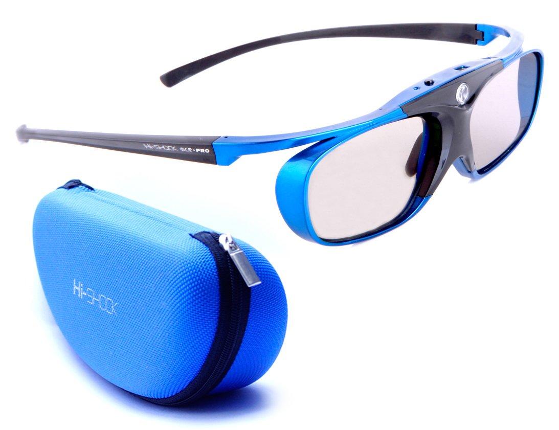 "DLP Link 3D shutter glasses ""Blue Heaven"" – for all DLP 3D Projectors: Acer, BenQ, Optoma, Viewsonic, Philips, LG, Infocus, Vivitek incl. Hardcase compatible with ZD302 | by Hi-SHOCK"