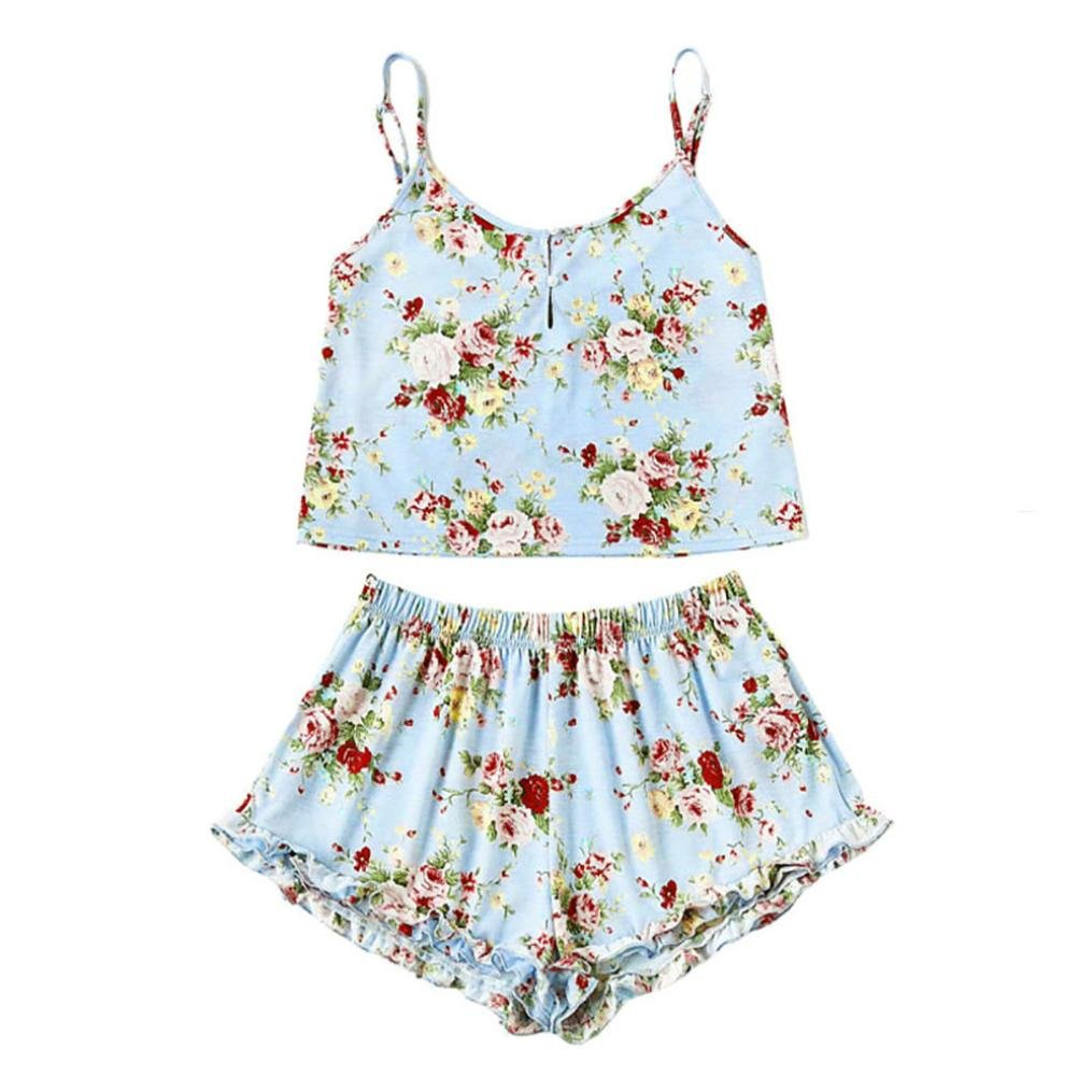 Alalaso Girls Sleeveless Print Crop Cami Tops Blouse+Ruffles Cord Shorts Outfit Set Suit (S)
