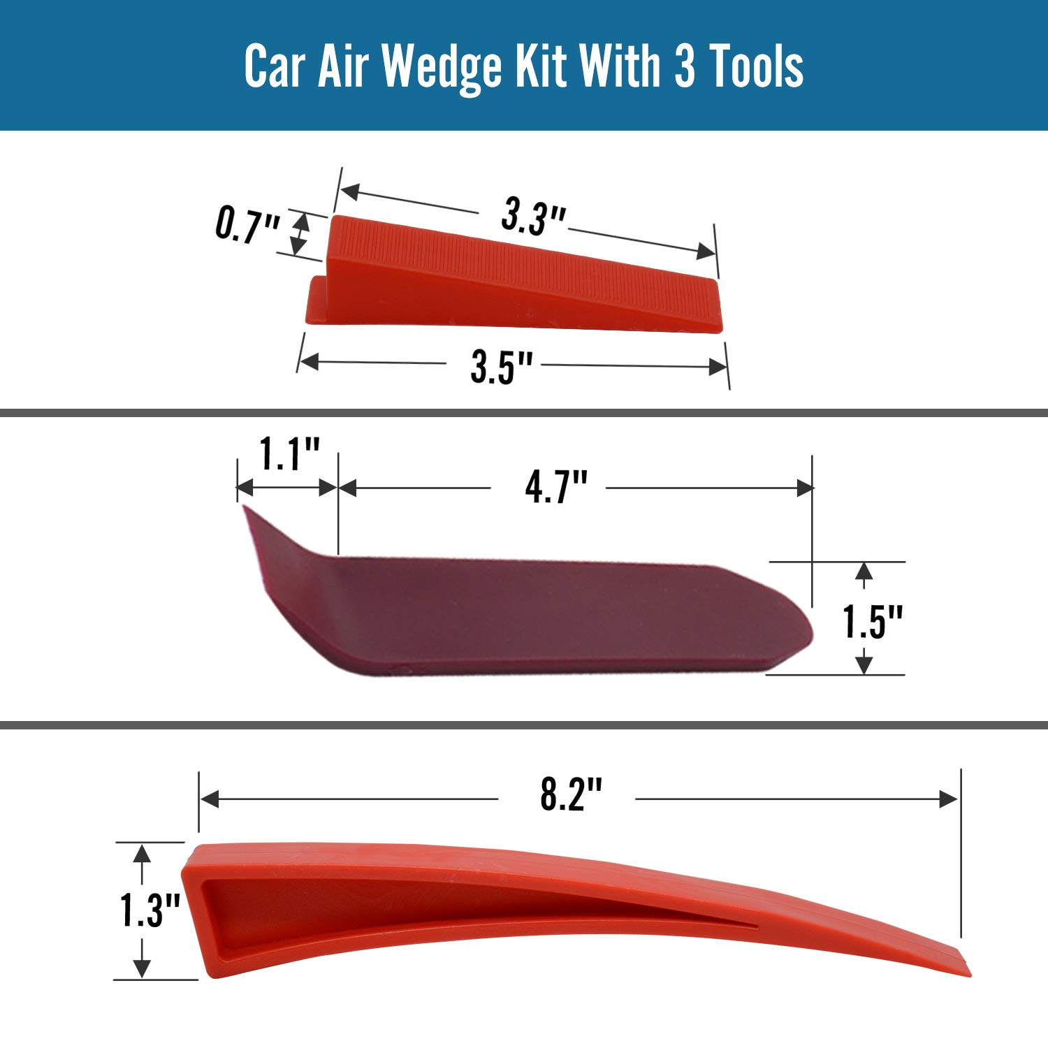 Seven Sparta Car Air Wedge Kit, 2PCS Air Wedge Pump Leveling Kit & Alignment Tool Inflatable Shim Bag with 3 Tools for Home Use and Auto Repair
