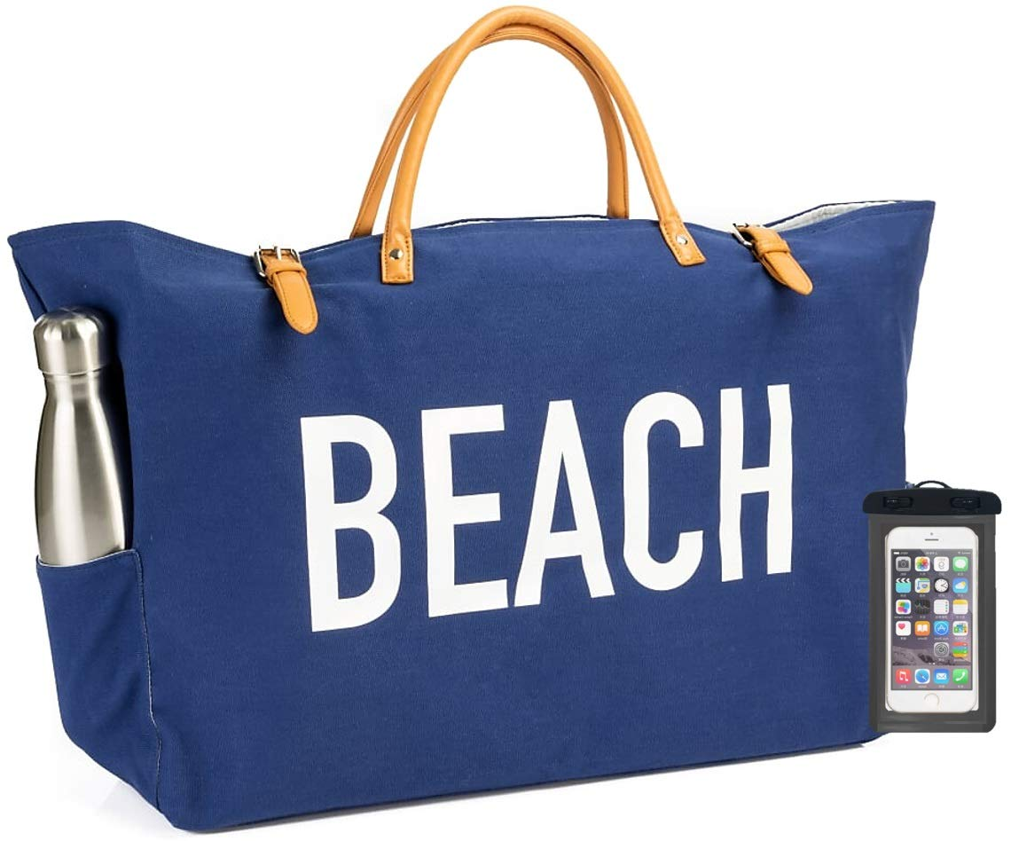 (New) PACO Large Canvas Beach Bag Travel Tote (Blue), Waterproof Lining, 2 Drink Holders, Pockets, FREE Phone Case