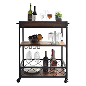 CharaVector Solid Wood Kitchen cart with 3 - Tier Shelves, Practical Industrial Kitchen Bar&Serving Cart, Glass Bottle Holder and Handle Racks, Rolling Kitchen Cart Removable Top Box Container, Brown