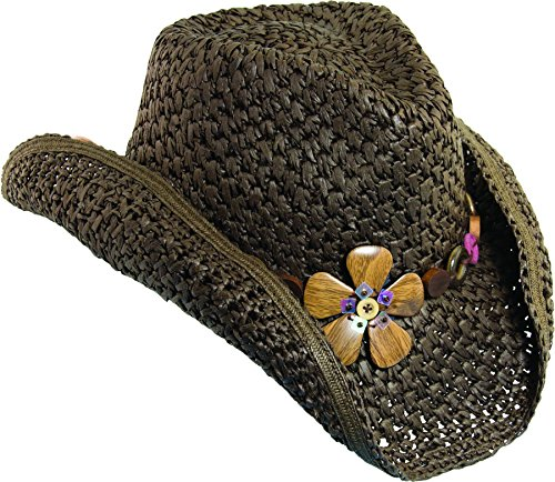 (Dorfman Pacific Womens Paper Western Hat Wood Flowers & Tail Feather )