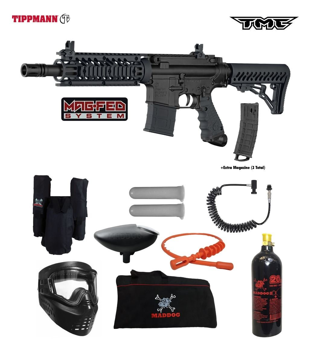 Tippmann TMC MAGFED Private Paintball Gun Package - Black/Black by Maddog