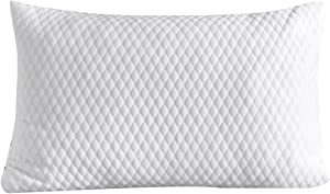 NTCOCO Pillow, Shredded Memory Foam Bed Pillows for Sleeping, with Washable Removable Bamboo Cooling Hypoallergenic Sleep Pillow for Back and Side Sleeper (White, Queen (1-Pack))