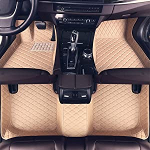 8X-SPEED Custom Car Floor Mats for BMW M3 Sedan E90 2009-2013 2010 2011 2012 Full Coverage All Weather Protection Waterproof Non-Slip Leather Liner Set Beige