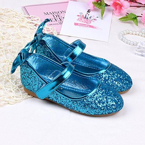 Cool&D Mädchen Sandalen Frozen Schuhe Prinzessin Sandalen Oxford Sohlen Sandalette mit Glitzerpailletten Blau