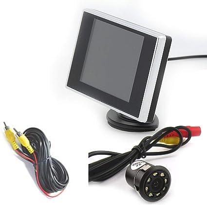 DONGMAO 3.5 Pulgadas TFT LCD Monitor de Coche Auto TV Coche + 18.5mm Cámara de Marcha atrás Monitor de Asistencia de estacionamiento Monitor de Marcha atrás de Reserva: Amazon.es: Coche y moto