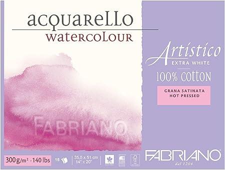18 x 24 x 0.5 cm Cotone Bianco Fabriano Carta per Acquerello