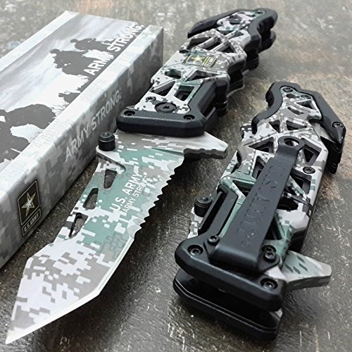 U.S. ARMY KNIVES US ARMY Assisted Knives Officially Licensed GREEN CAMO Tactical Knife ()